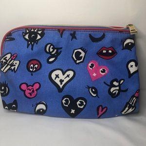 Estee Lauder Bags - Estee Lauder Heart Print Cosmetic Makeup Bag Blue